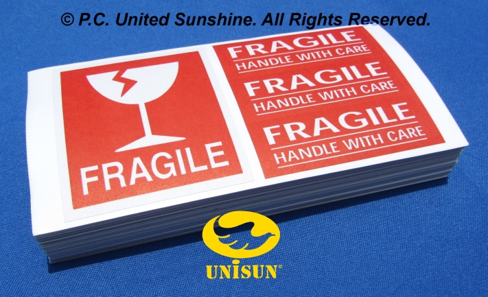 FRAGILE STICKER 4-in-1 BRIGHT RED 100 pcs. SET